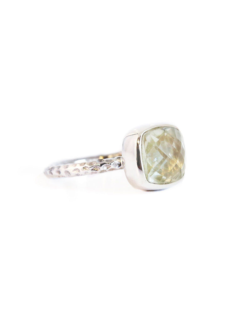Green Amethyst Hammered Ring