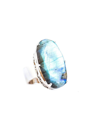 Labradorite Ring with Crown - Inaya Jewelry