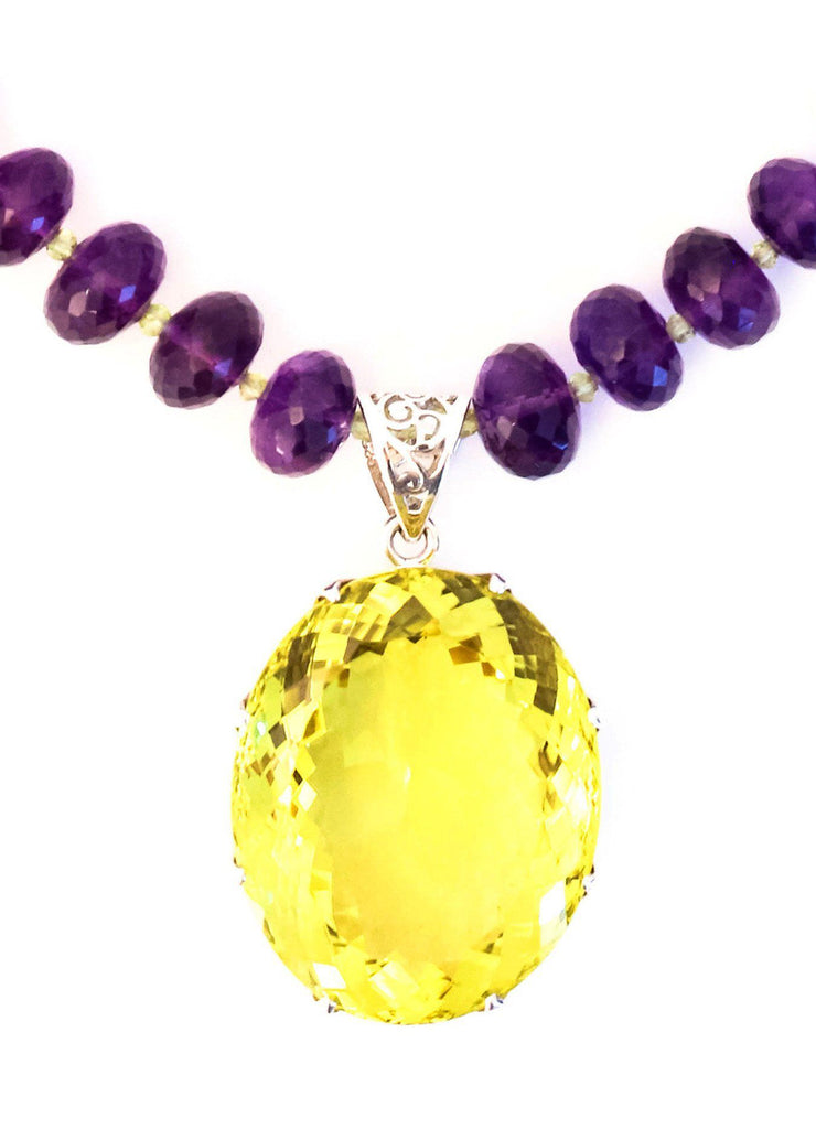 Large Lemon Topaz on Amethyst Pendant