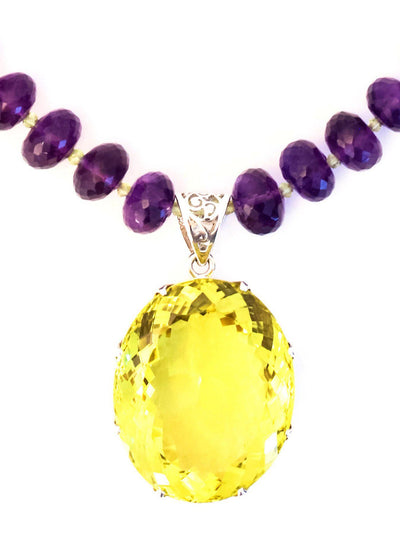 Large Lemon Topaz on Amethyst Pendant - Inaya Jewelry
