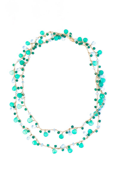 Green Onyx and Blue Topaz Long Chained Necklace - Inaya Jewelry
