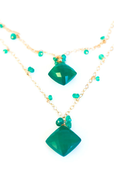 Double Stone Green Onyx Necklace - Inaya Jewelry