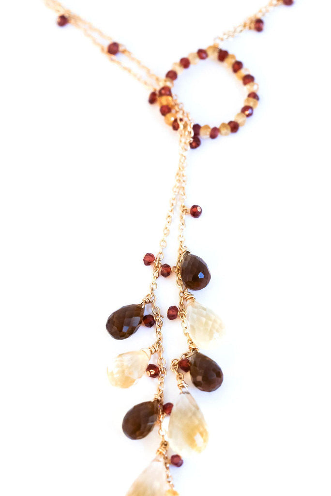 Hoop Lariat Smoky Citrine Necklace