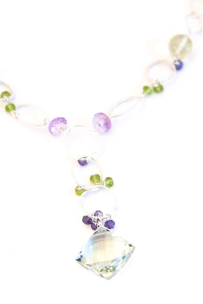 Chainy Green Amethyst Silver Necklace - Inaya Jewelry