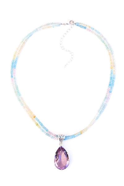 Amethyst on Aqua Pendant - Inaya Jewelry