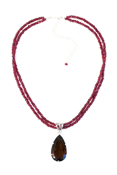 Smoky Topaz on Garnet Pendant - Inaya Jewelry