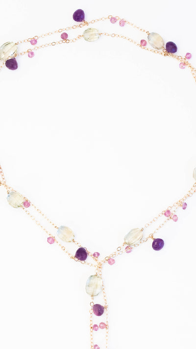 African, Pink and Green Amethyst Chainy Lariat Necklace - Inaya Jewelry