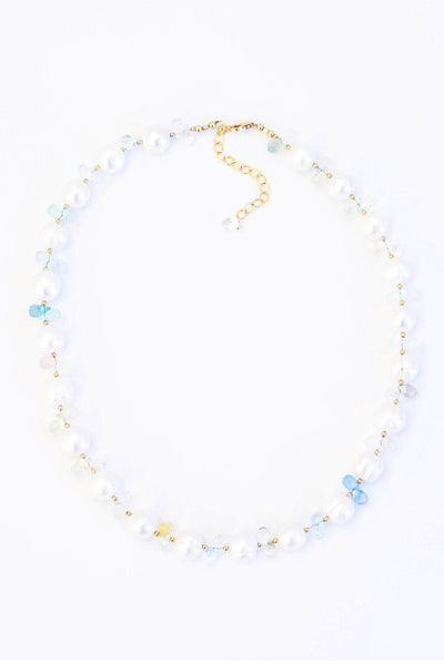 Pearls and Aquamarine Necklace - Inaya Jewelry