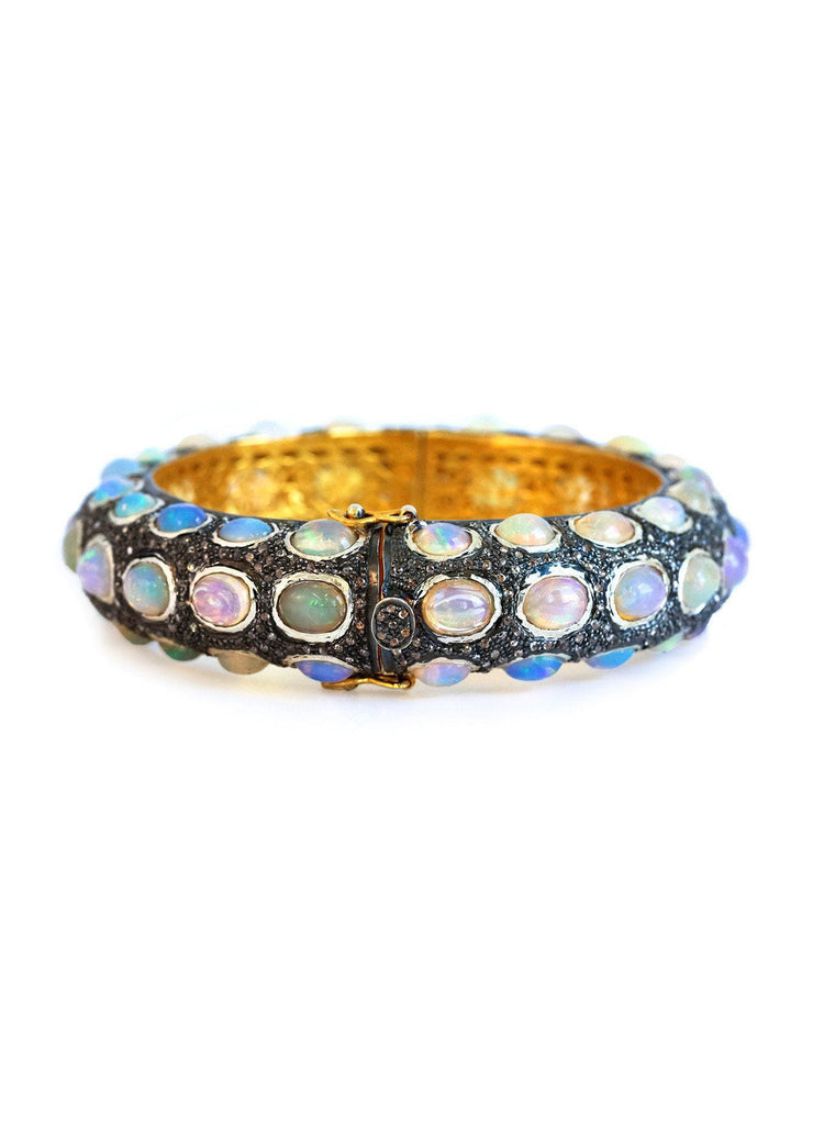 Opal And Black Diamond Bangle