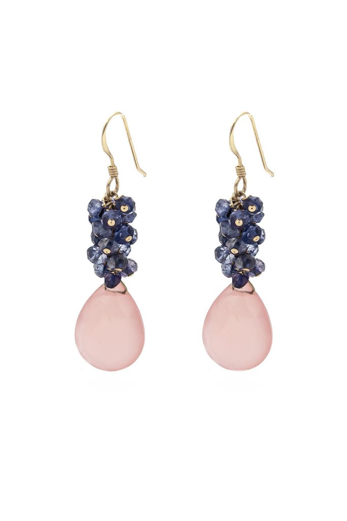 Peach Chalcedony & Iolite Cluster Earrings - Inaya Jewelry