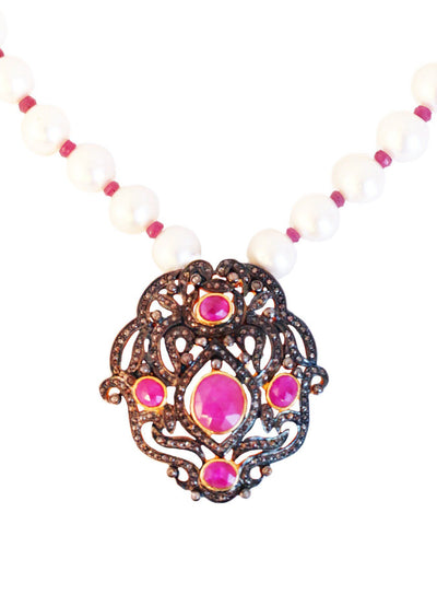 Ruby And Pearl Flat Cut Diamond Necklace - Inaya Jewelry
