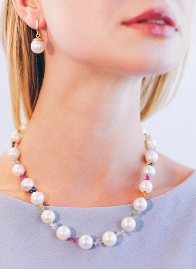 South Sea Pearls And Sapphires Necklace In Gold - Inaya Jewelry