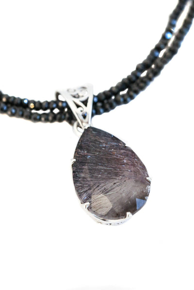 Super 7 on Black Spinel Pendant - Inaya Jewelry
