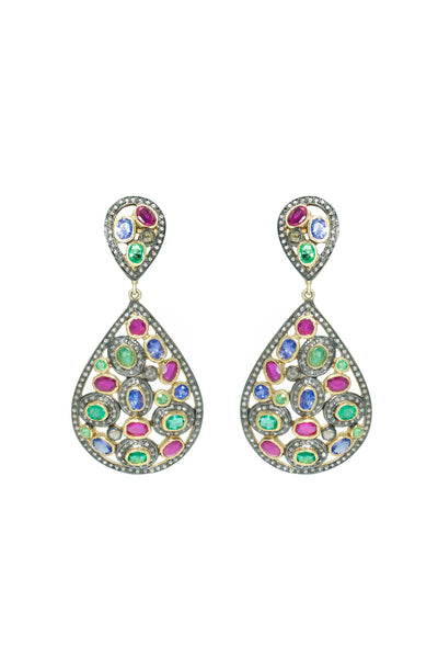Multi Gem Flat Cut Diamond Earrings - Inaya Jewelry