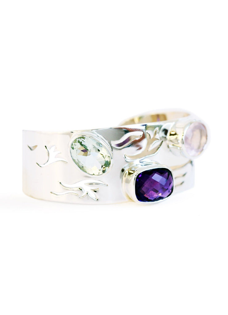 Three Stone Amethyst Bangle