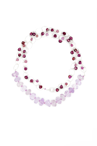 Pink Amethyst, Sapphires, Spinel and Garnet Necklace - Inaya Jewelry