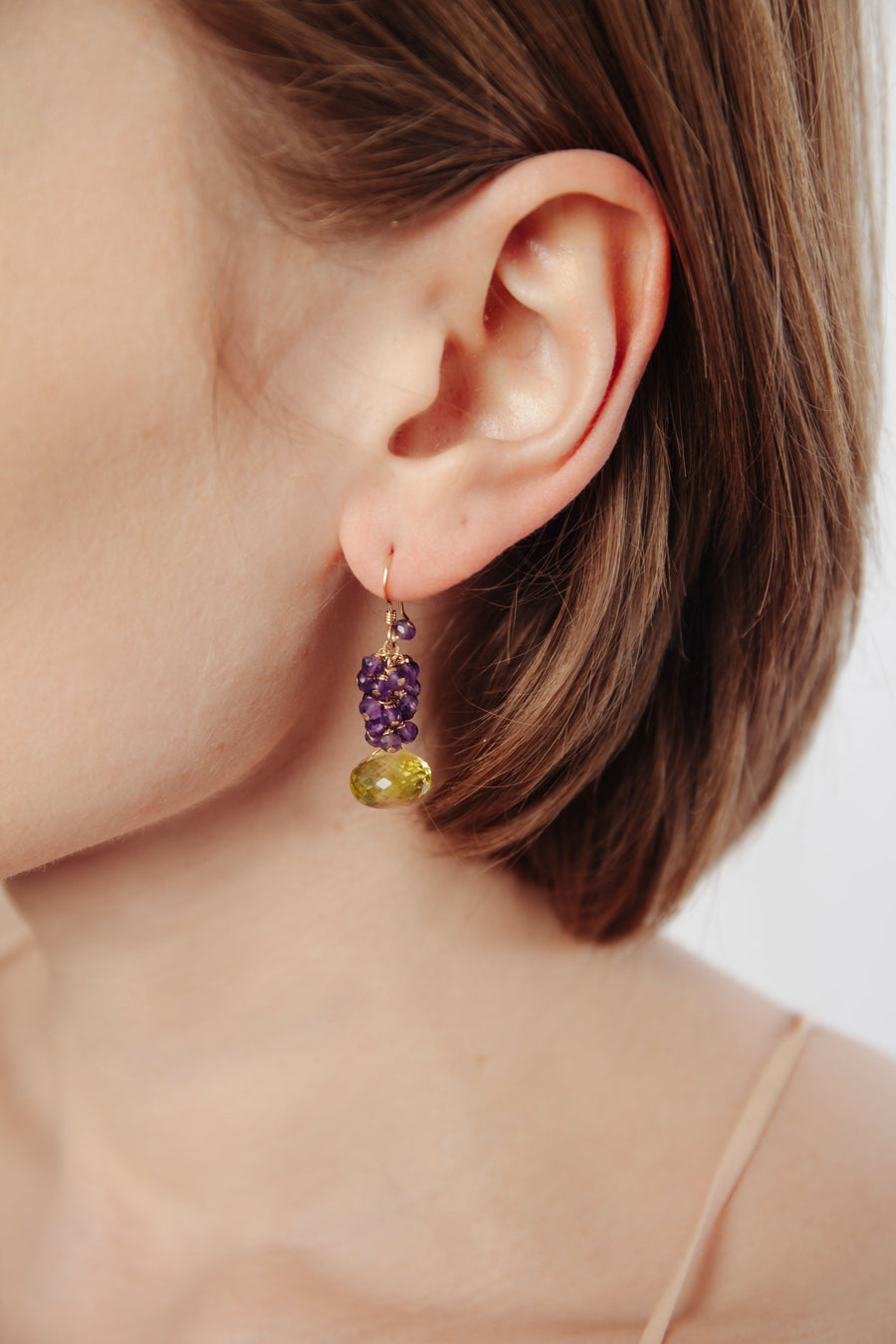 Lemon Topaz & Amethyst Cluster Earrings - Inaya Jewelry