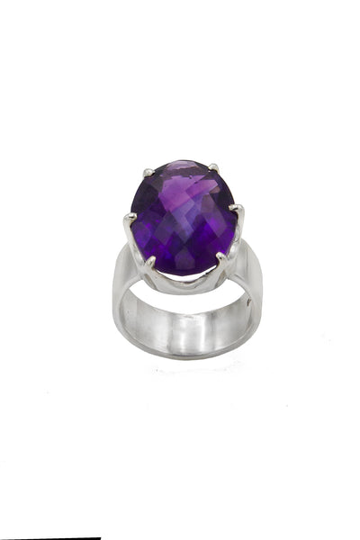 African Amethyst Crown Ring - Inaya Jewelry