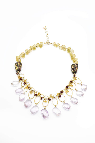 Black Diamonds & Ruby, Pink Amethyst & Citrine Necklace - Inaya Jewelry