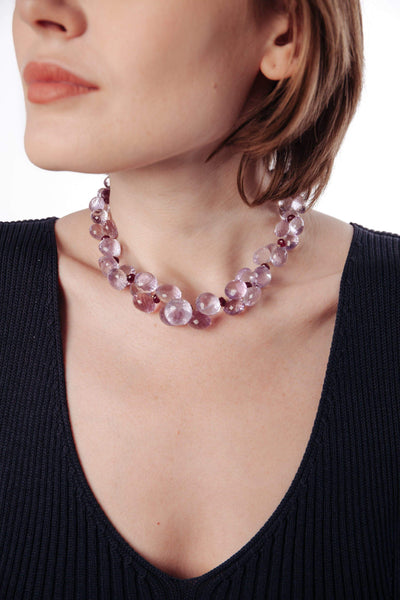 Pink Amethyst & Rubies Necklace - Inaya Jewelry