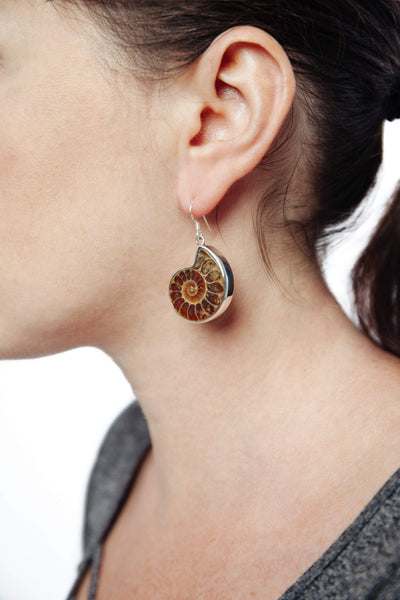 Ammonite Bezel Earrings - Inaya Jewelry