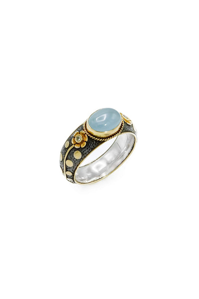 Aquamarine & Diamonds Gold & Silver Ring - Inaya Jewelry