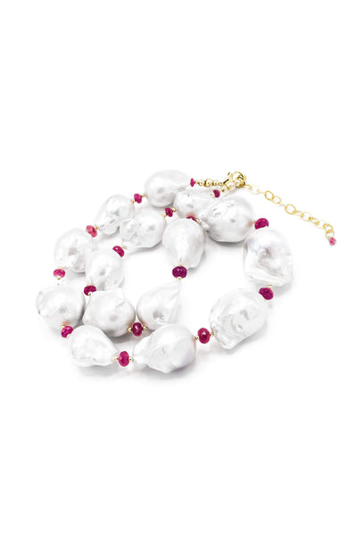Baroque Pearl & Rubies Necklace - Inaya Jewelry