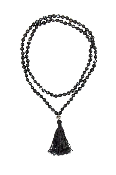 Striped Black Agate Mala Necklace - Inaya Jewelry