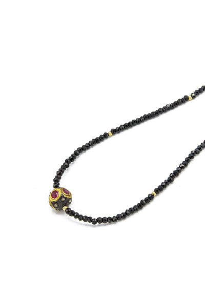 Black Diamond, Ruby & Black Spinel Necklace - Inaya Jewelry