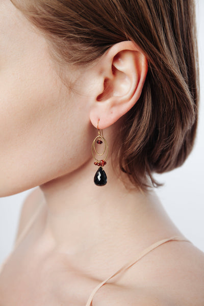 Black Spinel & Garnet Double Loop Earrings - Inaya Jewelry