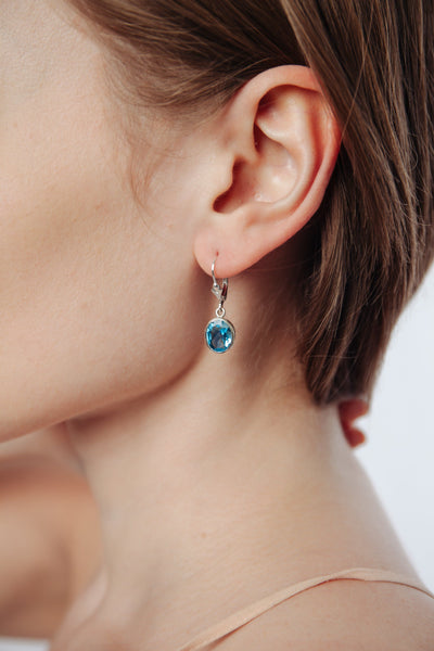 Blue Topaz Bezel Earrings - Inaya Jewelry