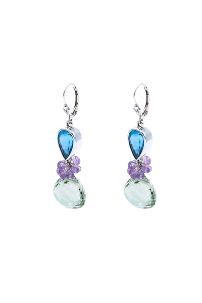 Green Amethyst & Blue Topaz Fantasy Drop Earrings - Inaya Jewelry