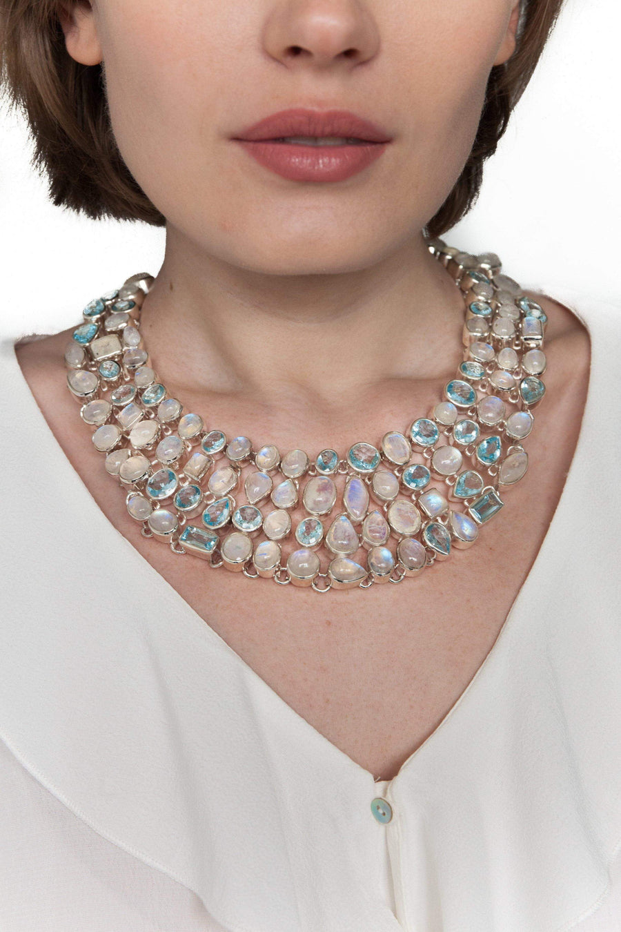Mosaic Moonstone & Blue Topaz Necklace - Inaya Jewelry