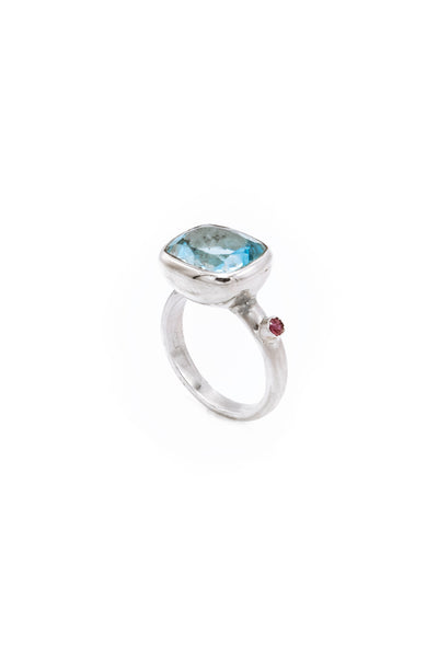 Blue Topaz & Ruby Ring - Inaya Jewelry
