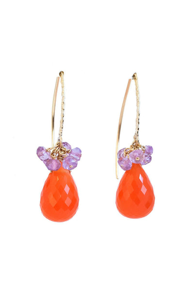 Carnelian and Amethyst Endless Earrings - Inaya Jewelry