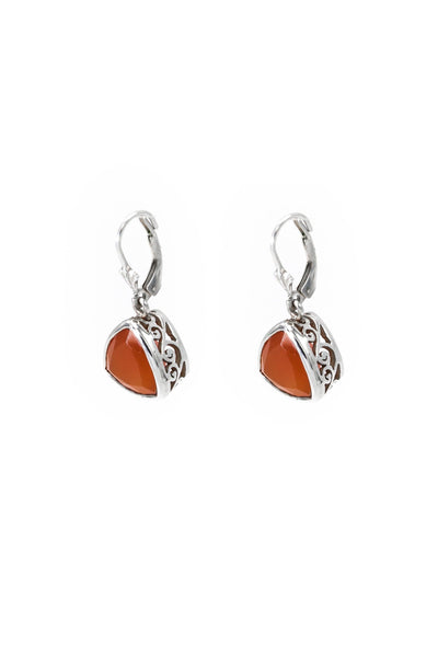 Carnelian Bezel Drop Earrings - Inaya Jewelry