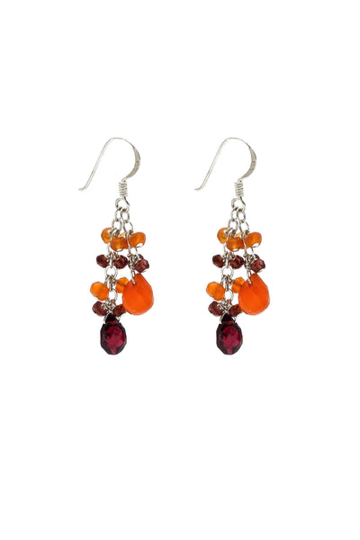Garnet & Carnelian Double Cluster Earrings - Inaya Jewelry