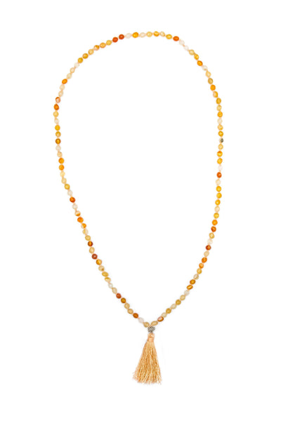 Striped Carnelian Mala Necklace - Inaya Jewelry