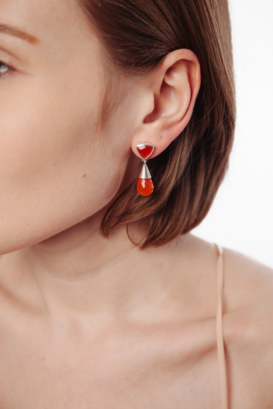 Carnelian Silver Drop Earrings - Inaya Jewelry