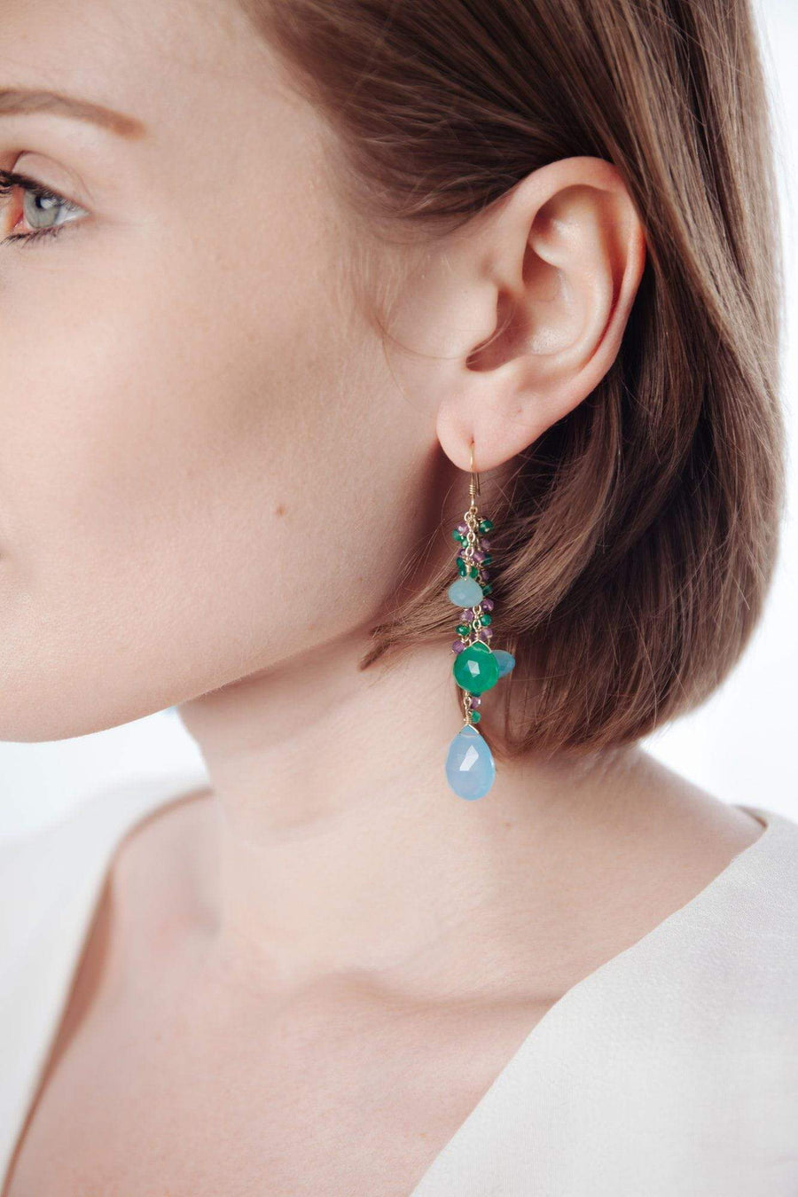 Blue Chalcedony & Green Onyx Gold Tassel Earrings - Inaya Jewelry