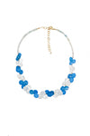 Crystal Blue Cluster Necklace - Inaya Jewelry