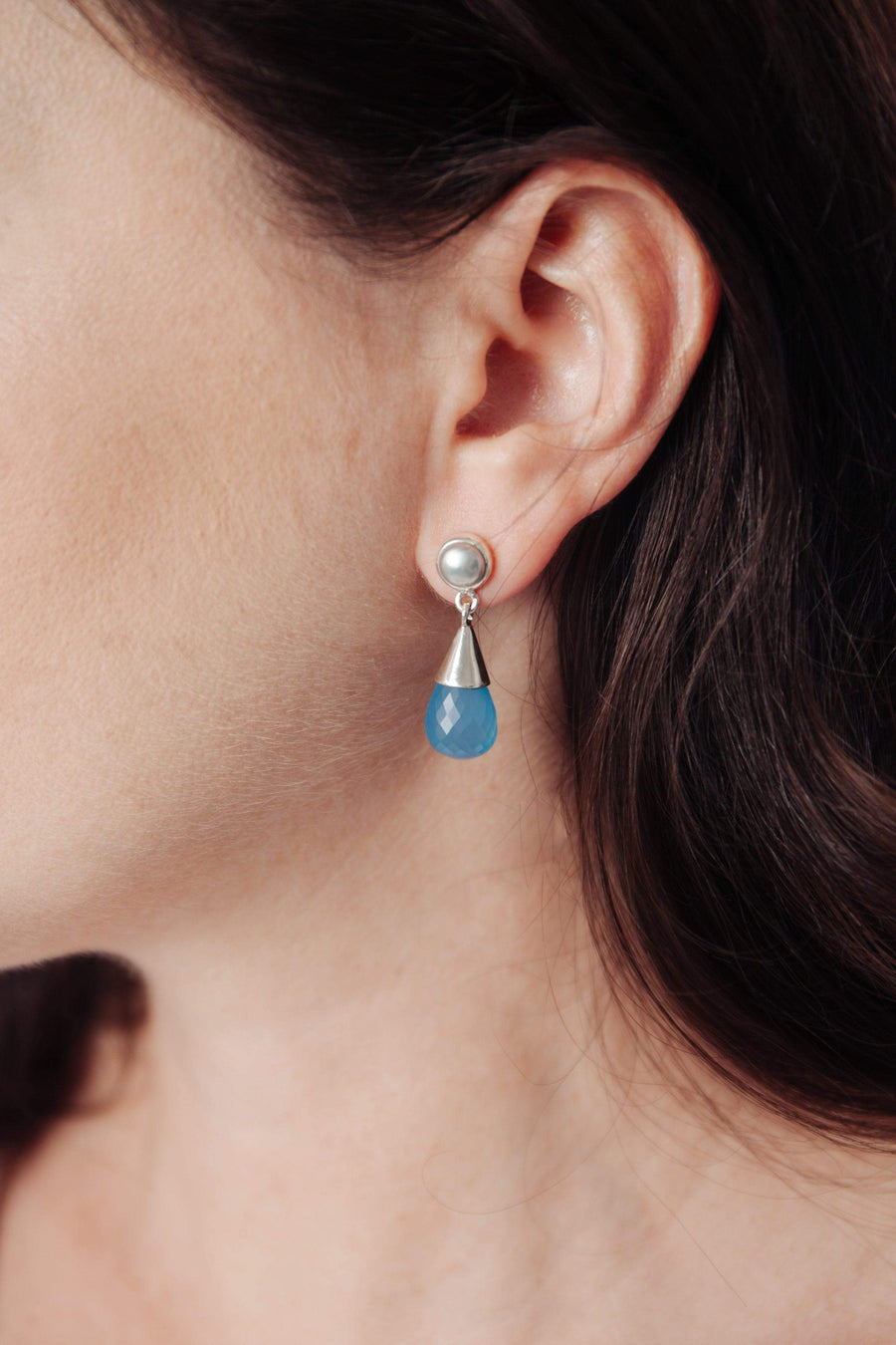Blue Chalcedony & Fresh Water Pearl Silver Drop Earrings - Inaya Jewelry