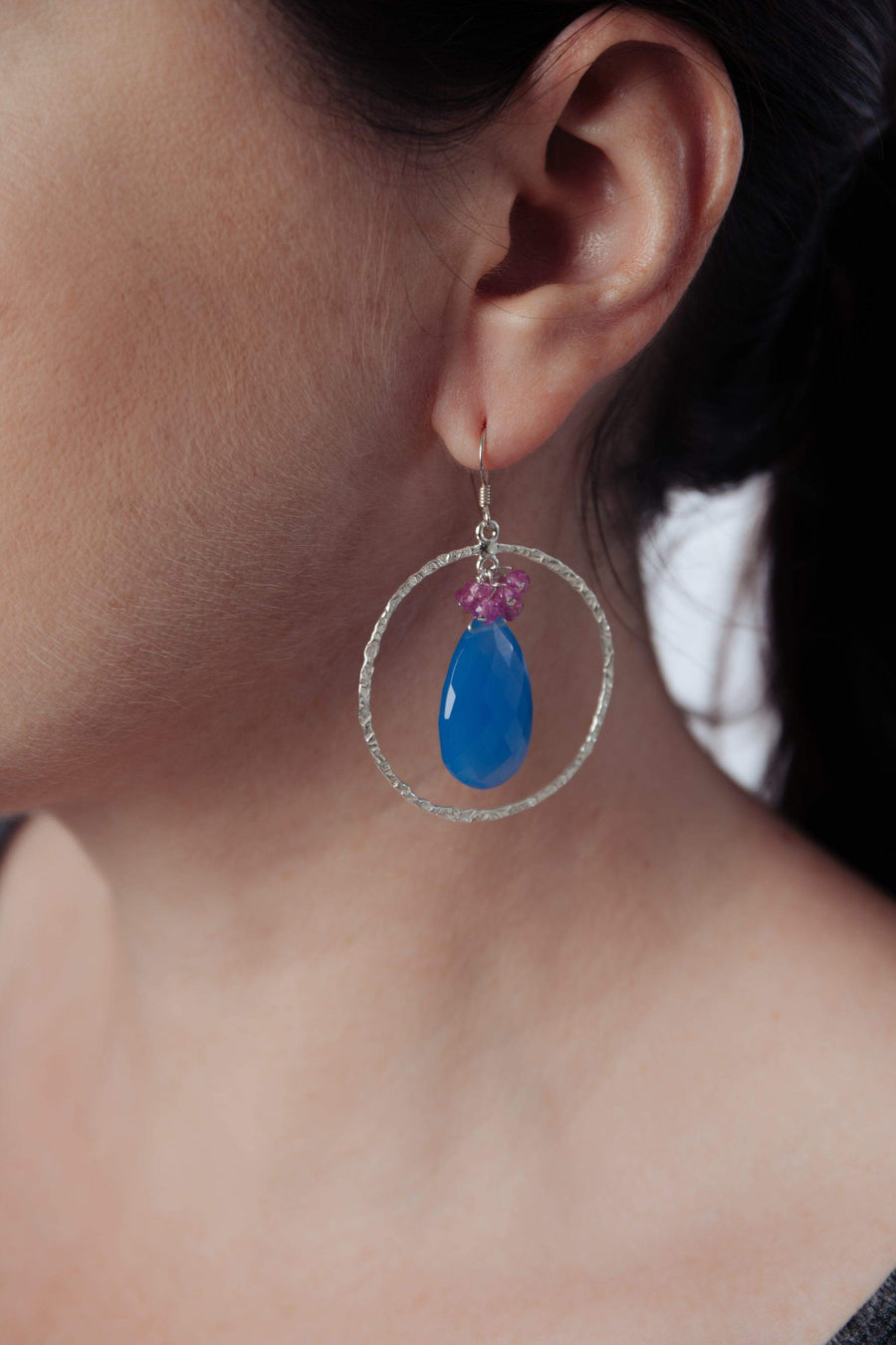 Blue Chalcedony & Pink Ruby Hoop Earrings - Inaya Jewelry