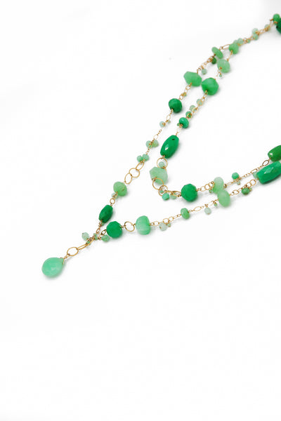 Chrysoprase Double Strand Necklace - Inaya Jewelry