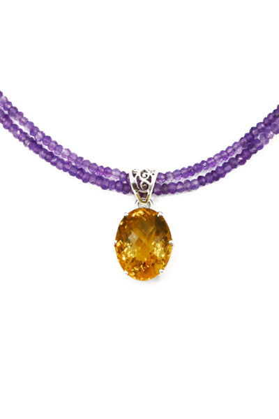 Citrine on Amethyst Pendant - Inaya Jewelry
