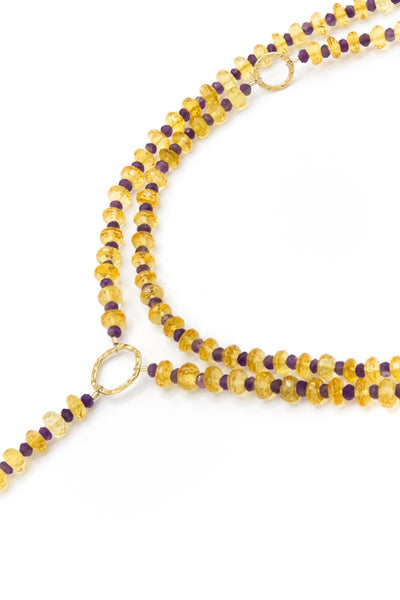 Citrine And Tiger's Eye Y Necklace - Inaya Jewelry
