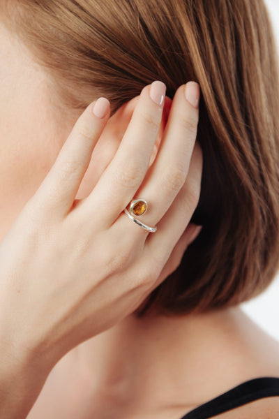 Citrine Swirl Ring - Inaya Jewelry