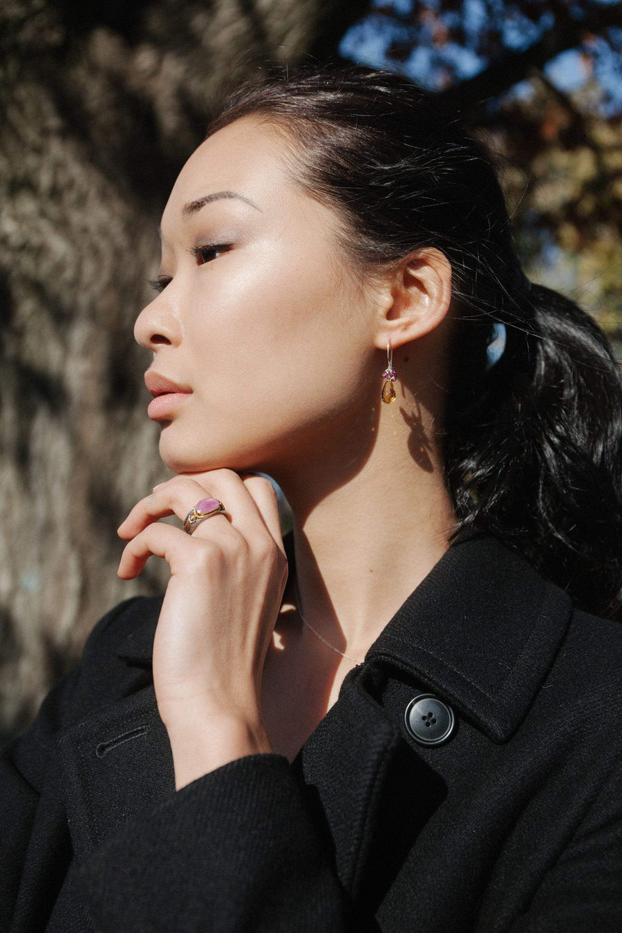 Citrine and Garnet Endless Earrings - Inaya Jewelry