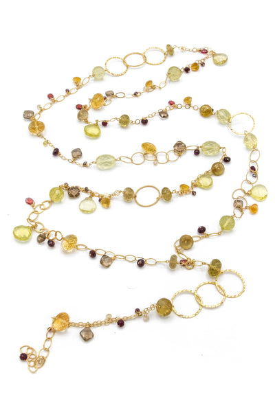 Smoky & Lemon Topaz, Citrine, Garnet Multi-Link Necklace - Inaya Jewelry