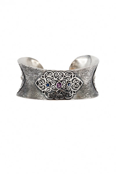Multicolored Sapphires Silver Bangle - Inaya Jewelry